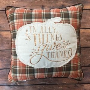 Fall Accent pillow In All Things Give Thanks Plaid